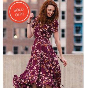 Stunning maroon wrap dress NWOT